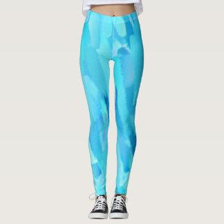 Turquoise Paint Splatter Leggings