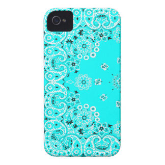 Turquoise paisley bandanna iPhone 4 cover