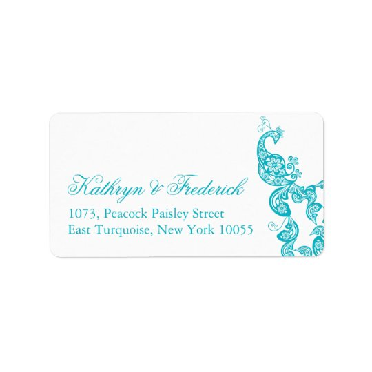 Turquoise Paisley Peacock Wedding Address Labels