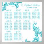 Turquoise Paisley Peacock Wedding Seating Chart