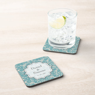 Turquoise Paisley Personalized Wedding Coasters