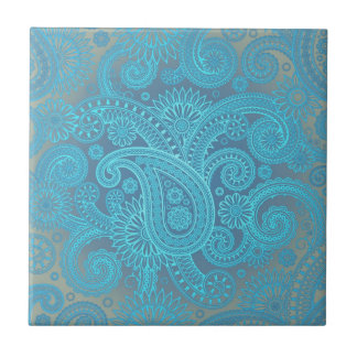 Turquoise Paisley Small Square Tile