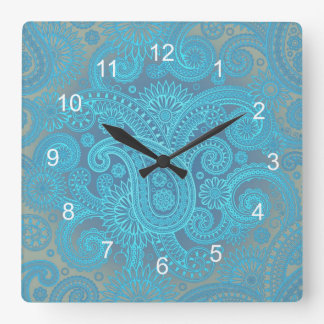 Turquoise Paisley Square Wall Clock