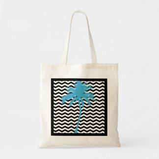 Turquoise Palm Tree Black Chevron Tote Bag