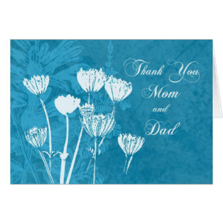Turquoise Parents  Wedding Day Thank You Card