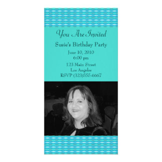 Turquoise Party Invitation Personalized Photo Card