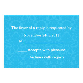Turquoise Pattern Background RSVP Cards Invites