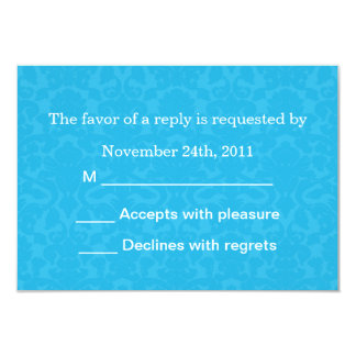 """Turquoise Pattern  Background RSVP Cards Invites 3.5"""" X 5"""" Invitation Card"""