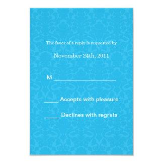 Turquoise Pattern  Wedding RSVP Cards Invites