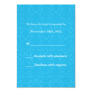 "Turquoise Pattern  Wedding RSVP Cards Invites 3.5"" X 5"" Invitation Card"