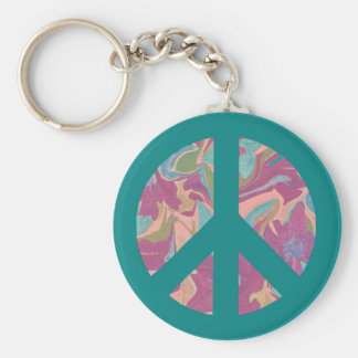 Turquoise peace sign abstract art piece key ring basic round button key ring