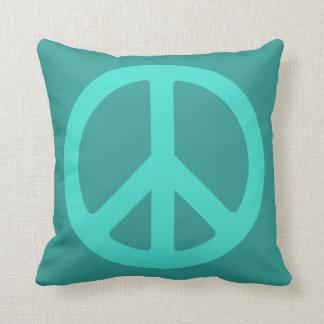 Turquoise Peace Symbol Cushion