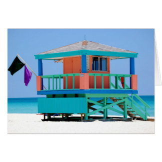 turquoise peach lifeguard stand greeting card