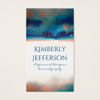Turquoise Peach Watercolors and Confetti Modern Business Card