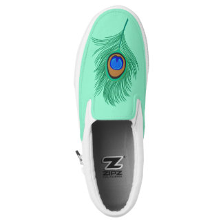 Turquoise Peacock Feather on Light Aqua Slip-On Shoes