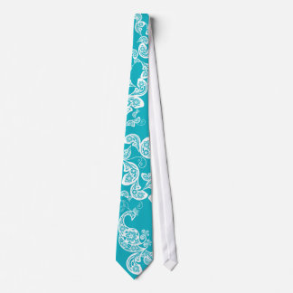 Turquoise Peacock Floral Paisley Elegant Stylish Tie