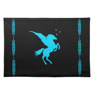 """""""Turquoise Pegasus"""" Black Placemat"""