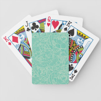 Turquoise Peony Pattern Bicycle Playing Cards