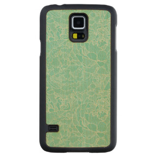 Turquoise Peony Pattern Carved Maple Galaxy S5 Case
