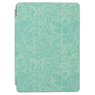 Turquoise Peony Pattern iPad Air Cover