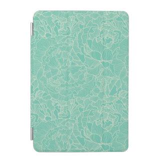 Turquoise Peony Pattern iPad Mini Cover