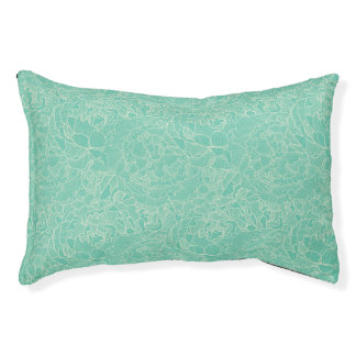 Turquoise Peony Pattern Pet Bed