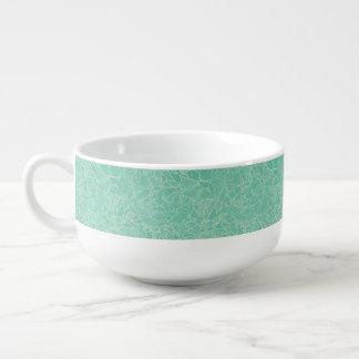 Turquoise Peony Pattern Soup Mug