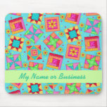 Turquoise Personalised Quilt Blocks Mousepad