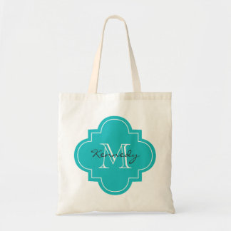 Turquoise Personalized Monogram Tote Bag