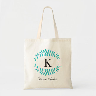 Turquoise Personalized Monogram Wedding Favour Canvas Bags