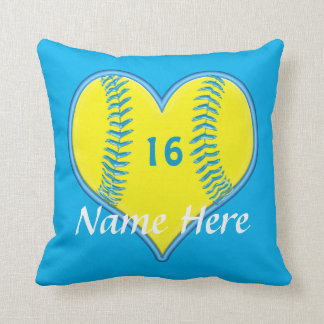 Turquoise Personalized Softball Pillows