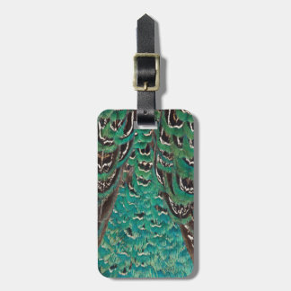 Turquoise Pheasant Feather Detail Luggage Tag