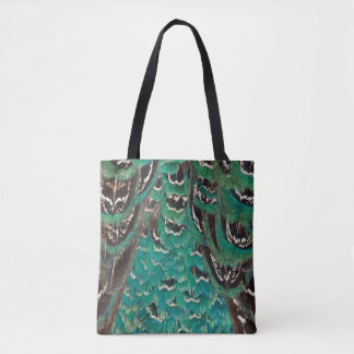Turquoise Pheasant Feather Detail Tote Bag