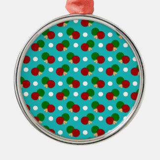 Turquoise ping pong pattern ornament