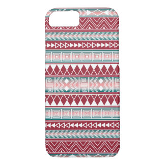 Turquoise, Pink and White Aztec Geometric pattern iPhone 8/7 Case