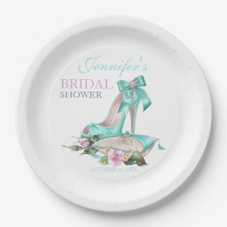 Turquoise & Pink Bridal Shower Shoe & Rose 9 Inch Paper Plate