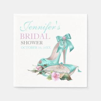 Turquoise & Pink Bridal Shower Shoe & Rose Paper Napkins