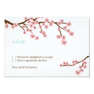 Turquoise & Pink Cherry Blossom RSVP w/ envelopes 9 Cm X 13 Cm Invitation Card