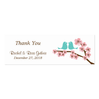 Turquoise & Pink Cherry Blossom Wedding Favor Tags Pack Of Skinny Business Cards