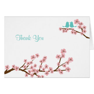 Turquoise & Pink Cherry Blossom Wedding Thank You Greeting Card