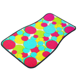 Turquoise, pink dots floor mat
