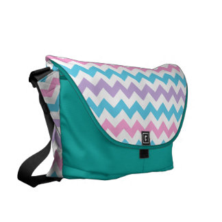 Turquoise, Pink, Mauve and White Chevrons Messenger Bag