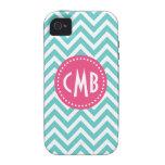 Turquoise & Pink Modern Chevron Custom Monogram Vibe iPhone 4 Cases