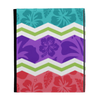 Turquoise, Pink, Violet Purple, and Green Tropical iPad Folio Covers