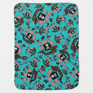 Turquoise pirate ship pattern baby blanket