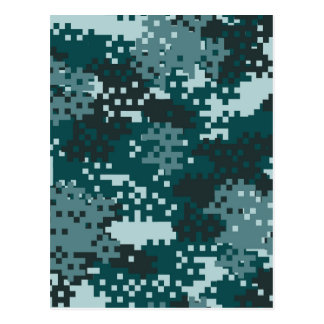 Turquoise Pixel Camouflage Postcard
