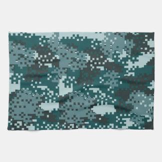 Turquoise Pixel Camouflage Tea Towel