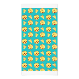 Turquoise pizza pattern personalised photo card