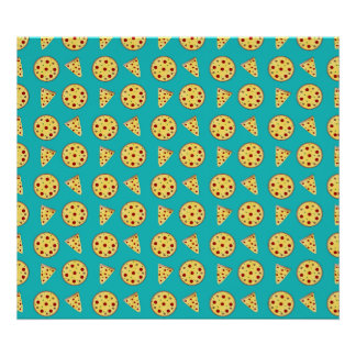 Turquoise pizza pattern poster