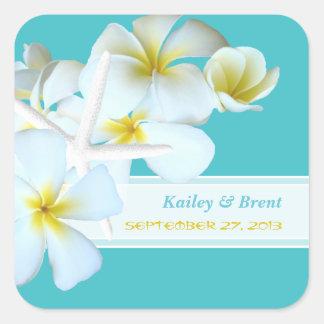 Turquoise Plumeria Square Wedding Stickers